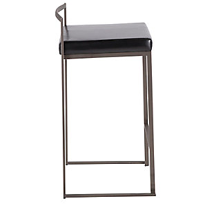 Fuji Industrial Stackable Counter Stool (Set of 2), Black, large