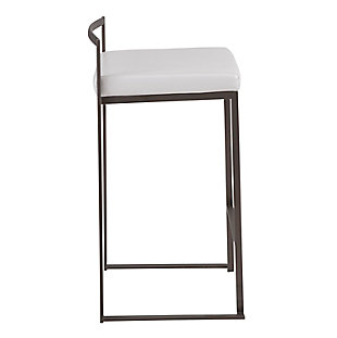 Fuji Industrial Stackable Counter Stool (Set of 2), Black/White, large