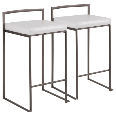 Fuji Industrial Stackable Counter Stool (Set of 2), White, large