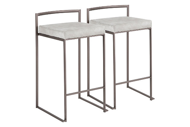 Fuji Industrial Stackable Counter Stool (Set of 2), Light Gray, large