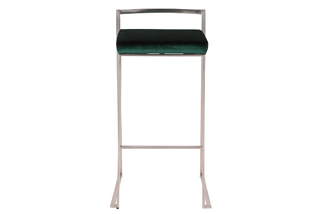 Fuji Stackable Barstool (Set of 2), Green, large