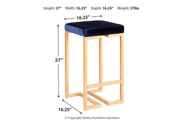 "Felicia 26"" Counter Stool (Set of 2), Blue/Yellow, large"