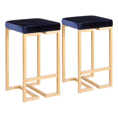 Felicia Counter Stool (Set of 2), Blue/Yellow, large
