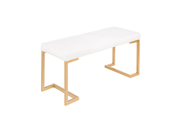 Felicia Entryway/Dining Bench, Yellow/White, large