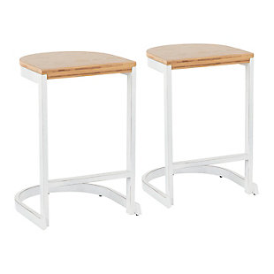 Industrial Demi Counter Stool (Set of 2), Yellow/White, large