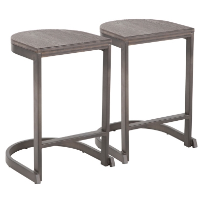 Industrial Demi Counter Stool (Set of 2), Yellow/Black, large
