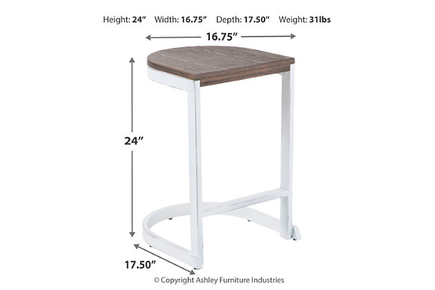 Industrial Demi Counter Stool (Set of 2), White/Brown, large