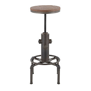 Hydra Industrial Adjustable Height Bar Stool, Black/Brown, rollover