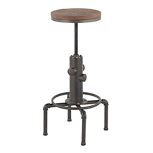 Hydra Industrial Adjustable Height Bar Stool, Black/Brown, large