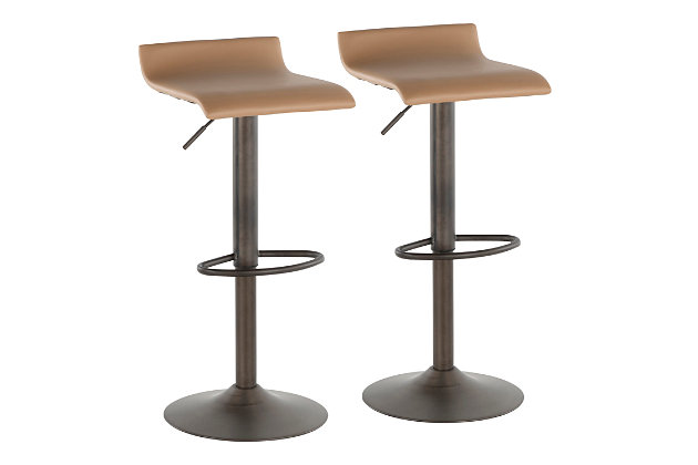 Ale Industrial Adjustable Height Bar Stool with Swivel (Set of 2), Yellow/Black, large