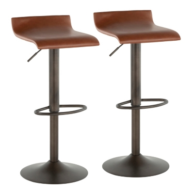 Ale Industrial Adjustable Height Bar Stool with Swivel (Set of 2), Black/Brown, large