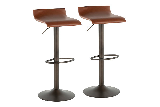 Ale Industrial Adjustable Height Bar Stool with Swivel (Set of 2), , large
