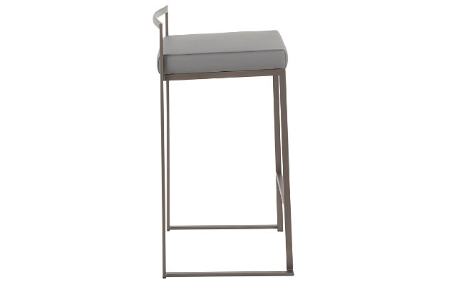 Fuji Industrial Stackable Counter Stool (Set of 2), Gray, large
