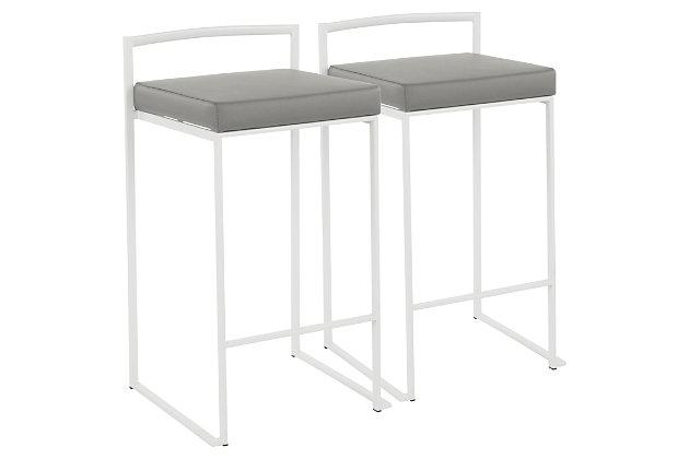 Fuji Stackable Counter Stool (Set of 2), Gray, large