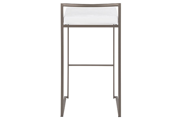 Fuji Industrial Stackable Barstool (Set of 2), White, large