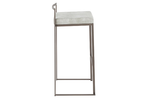 Fuji Industrial Stackable Barstool (Set of 2), Light Gray, large