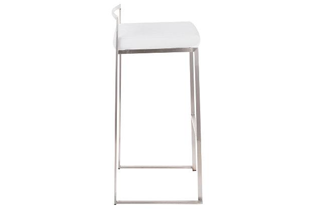 Fuji Stackable Barstool (Set of 2), White, large
