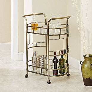 Rolling 2-Tier Serving Cart in Antique Gold Finish, , rollover