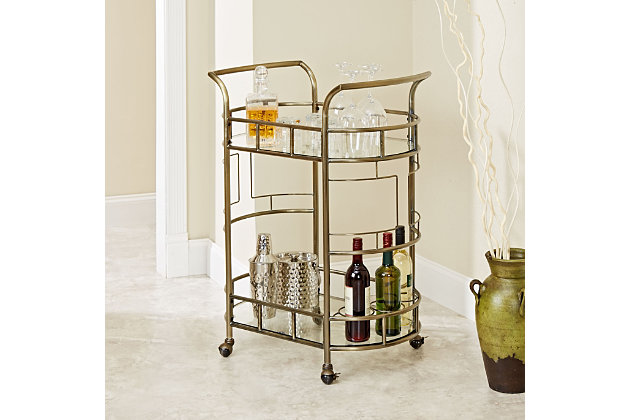 Rolling 2-Tier Serving Cart in Antique Gold Finish, , large