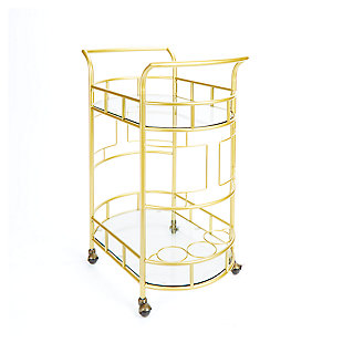 Rolling 2-Tier Serving Cart in Gold Finish, , large