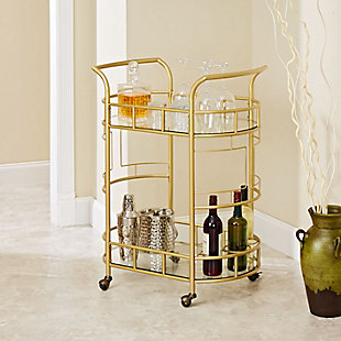 Rolling 2-Tier Serving Cart in Gold Finish, , rollover