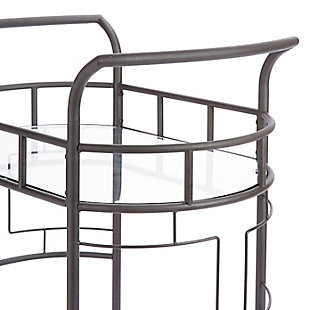 Rolling 2-Tier Serving Cart in Hammered Bronze Finish, , large