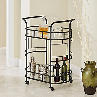 Rolling 2-Tier Serving Cart in Hammered Bronze Finish, , rollover