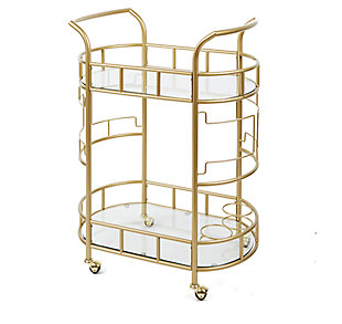 Rolling Bar Cart in Gold Finish, , large