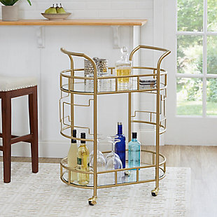 Rolling Bar Cart in Gold Finish, , rollover