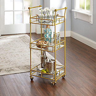 Rolling 3-Tier Square Bar Cart in Gold Finish, , rollover
