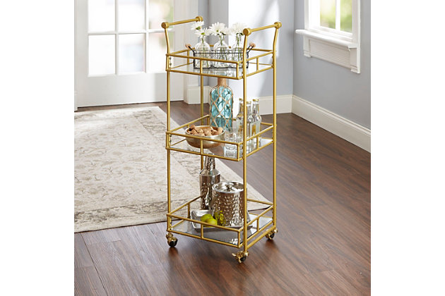 Rolling 3-Tier Square Bar Cart in Gold Finish, , large