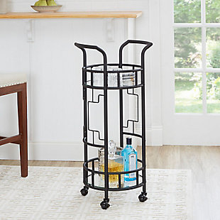 Rolling Round Bar Cart Hammered Black Finish, , rollover