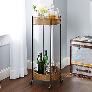 Rolling 2-Tier Tall Round Bar Cart, , rollover