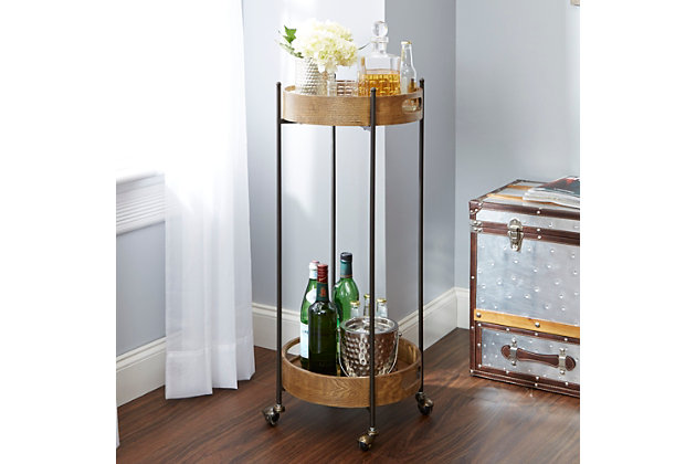 Rolling 2-Tier Tall Round Bar Cart, , large