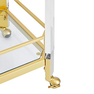 Rolling Clear Glass and Gold Finish Bar Cart, , large