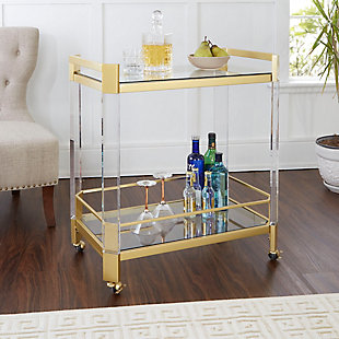 Rolling Clear Glass and Gold Finish Bar Cart, , rollover