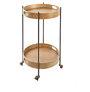 Rolling 2-Tier Round Bar Cart, , large