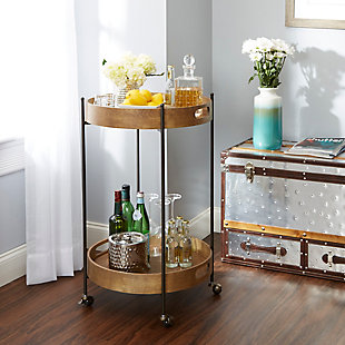 Rolling 2-Tier Round Bar Cart, , rollover