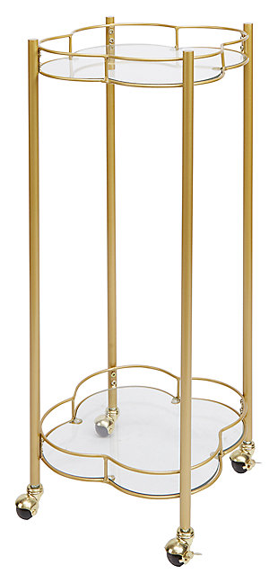 Rolling 2-Tier Quatrefoil Bar Cart, , large