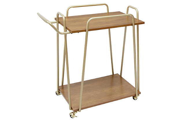 Rolling 2-Tier Clover Bar Cart in Gold Finish, , large