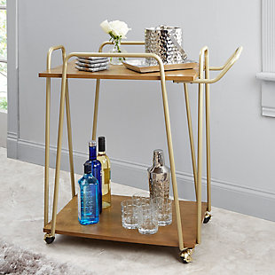 Rolling 2-Tier Clover Bar Cart in Gold Finish, , rollover