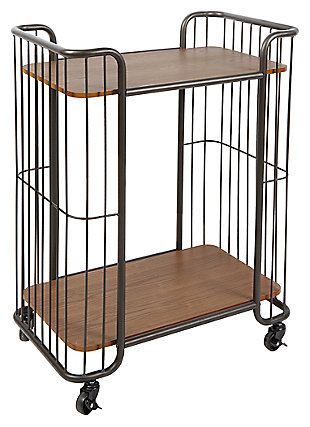Rolling Industrial 2-Tier Caged Serving Cart in Black Finish, , large