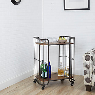 Rolling Industrial 2-Tier Caged Serving Cart in Black Finish, , rollover