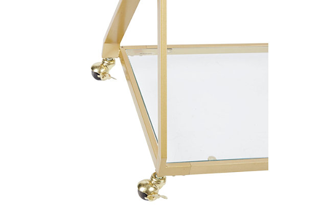 Rolling X-Frame 2-Tier Serving Cart in Gold Finish, , large