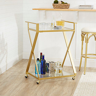 Rolling X-Frame 2-Tier Serving Cart in Gold Finish, , rollover
