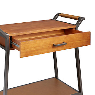 Rolling Kitchen Cart with Drawer in Walnut and Gunmetal Finishes, , large