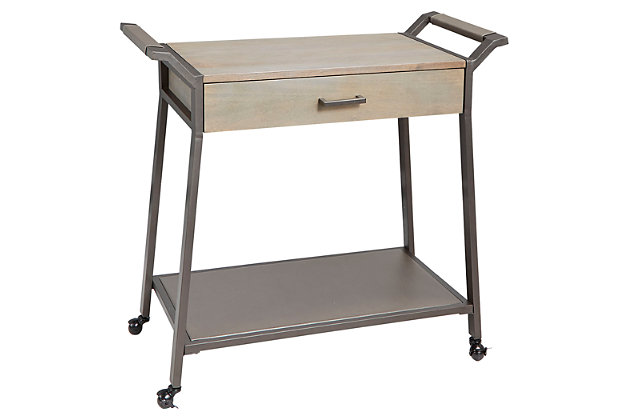 Rolling Kitchen Cart with Drawer in Graphite and Gunmetal Finish, , large