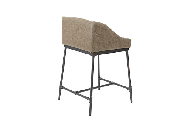 Brady Industrial Pipe Square Counter Stool, Brown/Black, large