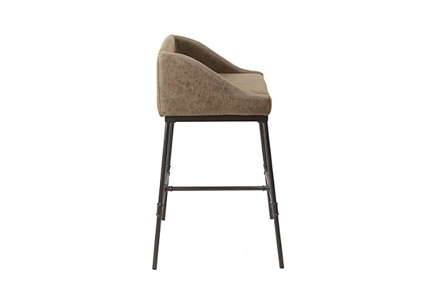 Brady Industrial Pipe Square Bar Stool, Brown/Black, large