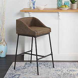 "Brady 29"" Industrial Pipe Square Stool with Back, , rollover"